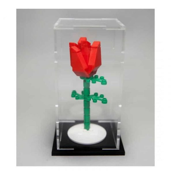 Valentines Red Lego Rose With Display Case