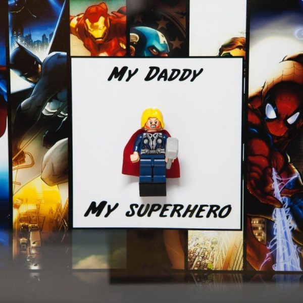 Daddy Superhero Minifigure Acrylic Insert Frame